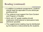 reading continued