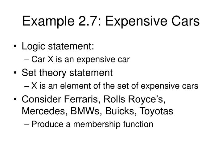 Example 2.7: Expensive Cars