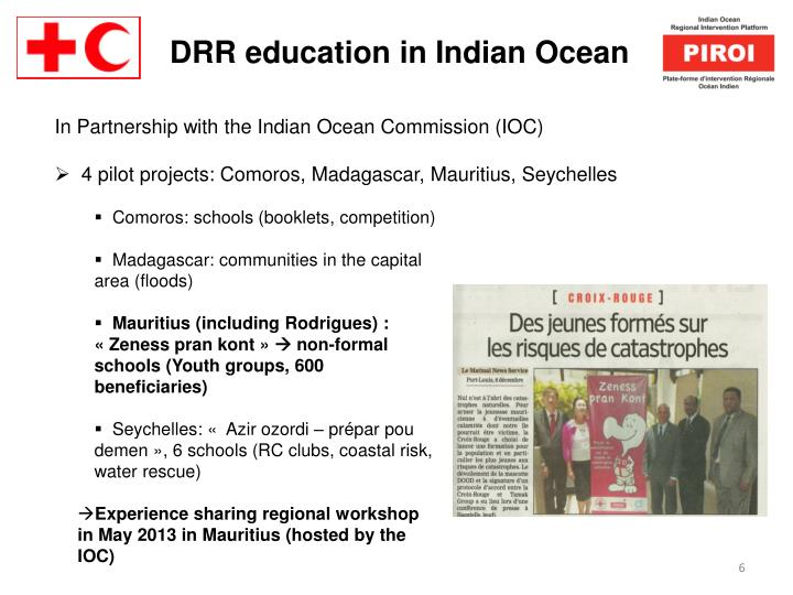 DRR education in Indian Ocean