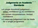 judgements on academic standards