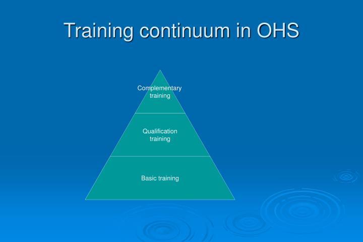 Training continuum in OHS