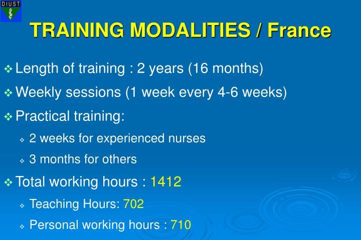 TRAINING MODALITIES / France