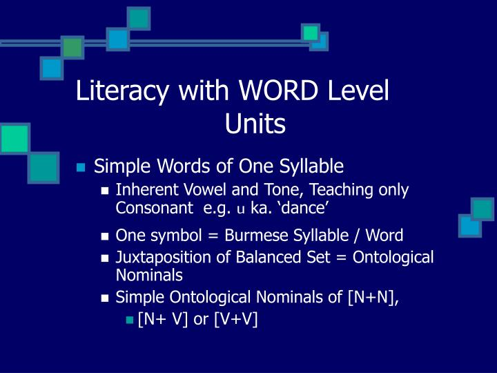 Literacy with WORD Level 				Units