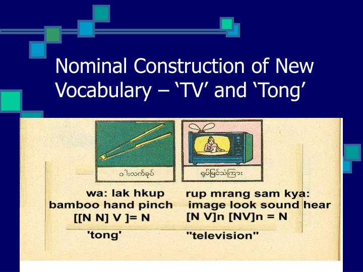 Nominal Construction of New Vocabulary – 'TV' and 'Tong'