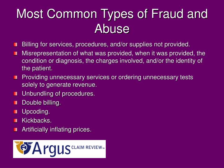 Most common types of fraud and abuse