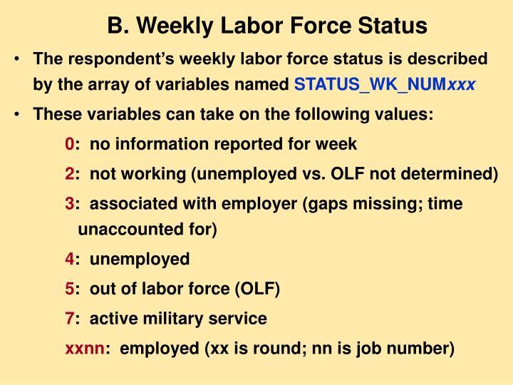 B. Weekly Labor Force Status