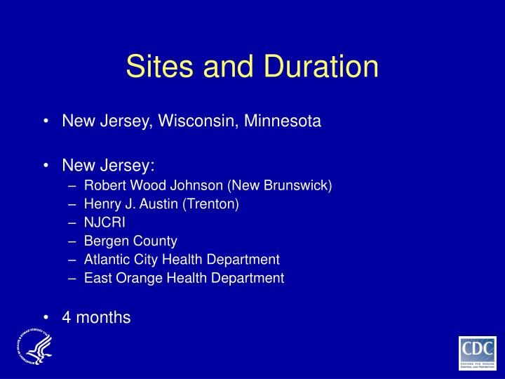 Sites and Duration