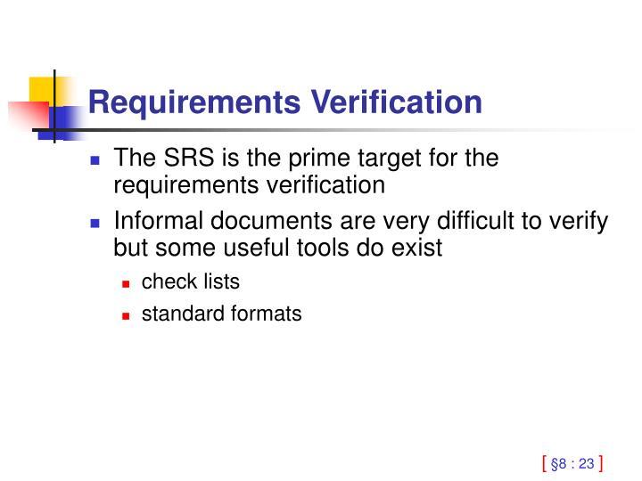 Requirements Verification