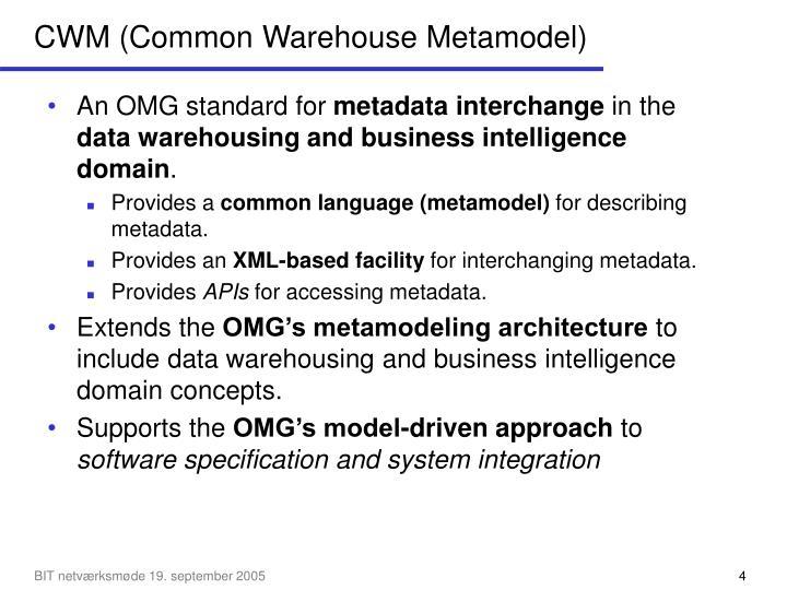 CWM (Common Warehouse Metamodel)