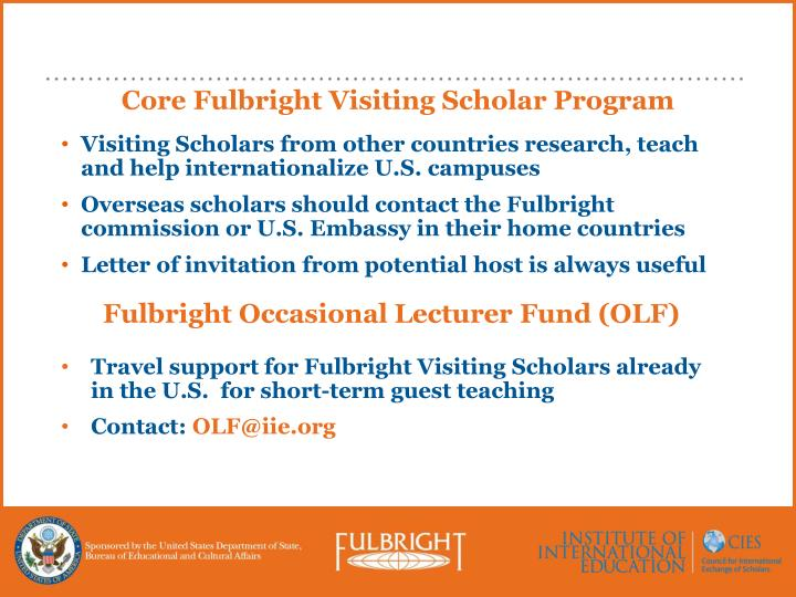Core Fulbright Visiting Scholar Program