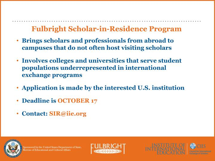 Fulbright Scholar-in-Residence Program