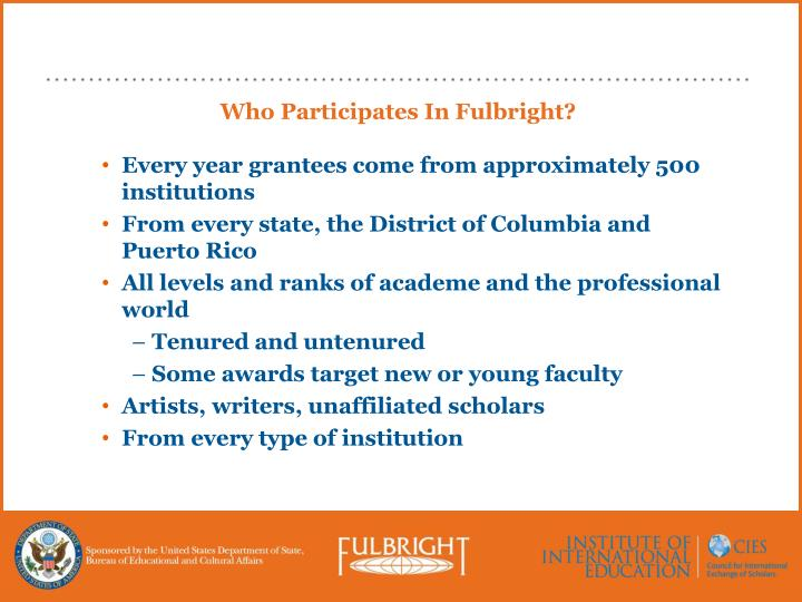 Who Participates In Fulbright?
