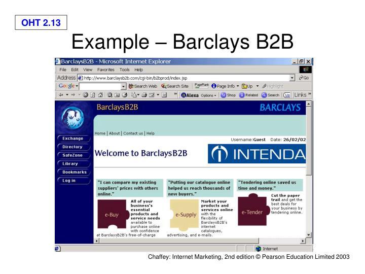 Example – Barclays B2B