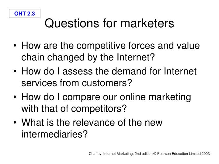 Questions for marketers