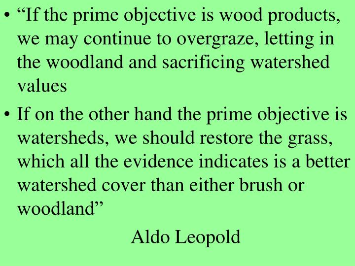"""If the prime objective is wood products, we may continue to overgraze, letting in the woodland and sacrificing watershed values"