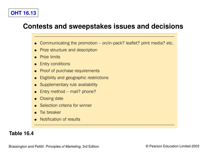 Contests and sweepstakes issues and decisions