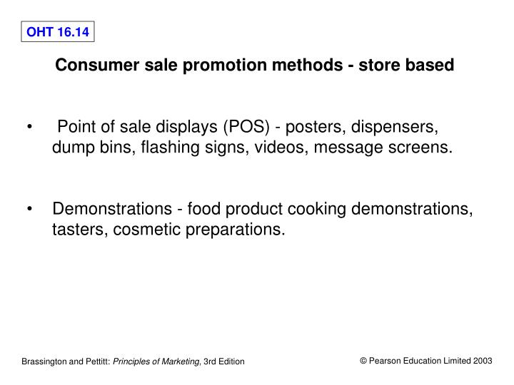 Consumer sale promotion methods - store based