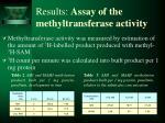 results assay of the methyltransferase activity