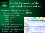 results optimizing of the protein induction conditions