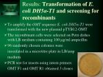 results transformation of e coli dh5 t1 and screening for recombinants