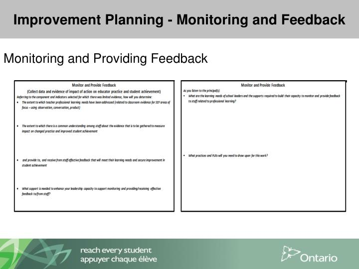 Improvement Planning - Monitoring and Feedback