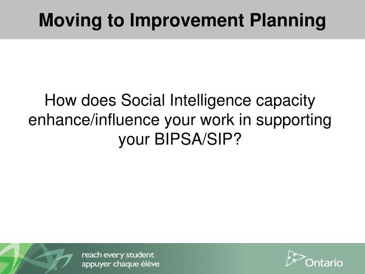 Moving to Improvement Planning