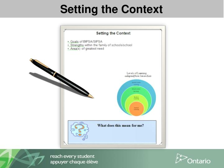 Setting the Context