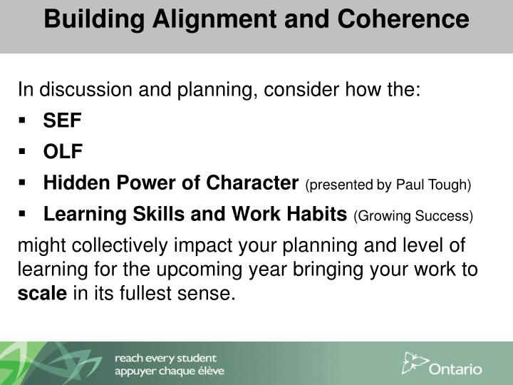 Building Alignment and Coherence
