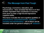 the message from paul tough