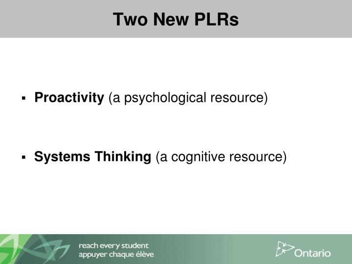 Two New PLRs