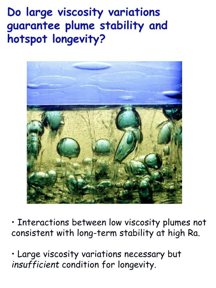 Do large viscosity variations guarantee plume stability and hotspot longevity?