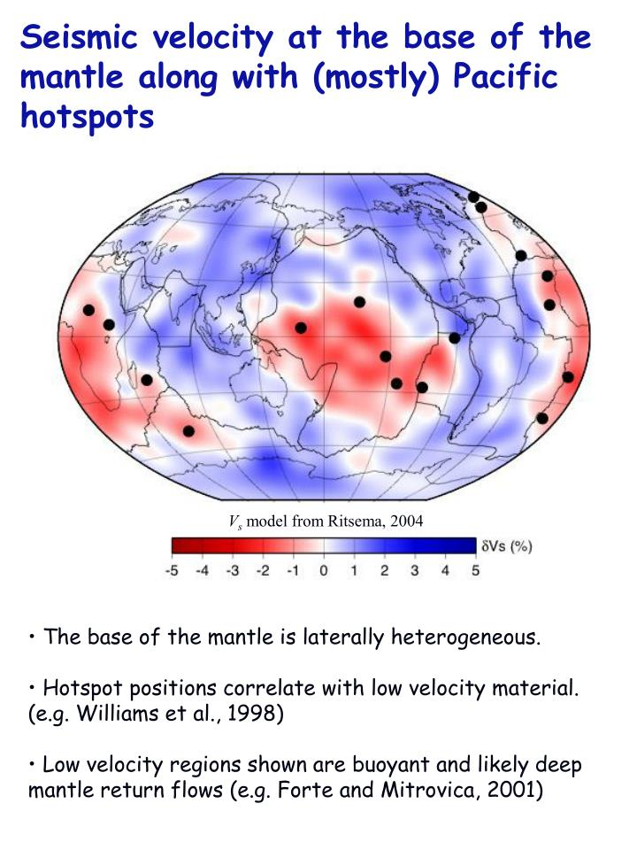 Seismic velocity at the base of the mantle along with (mostly) Pacific hotspots