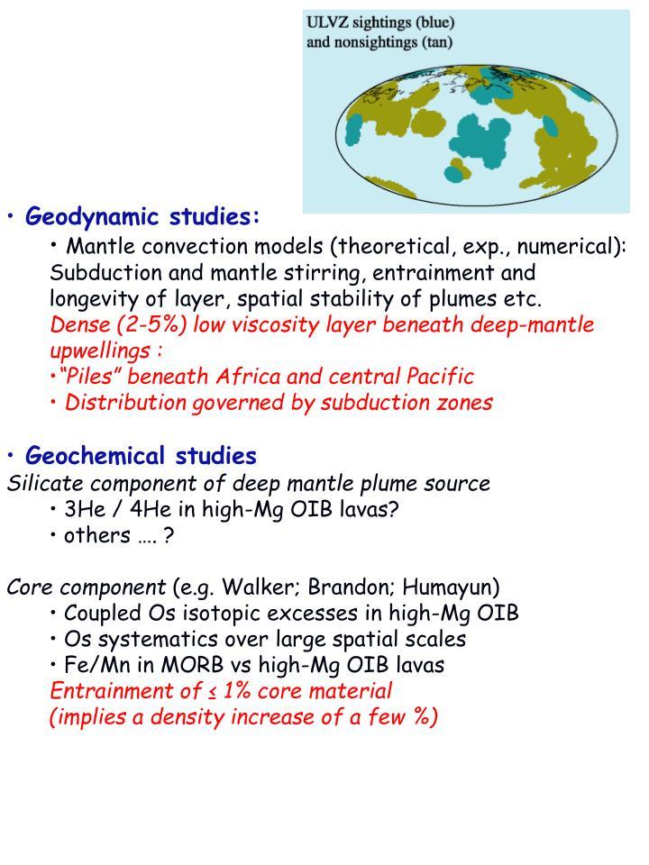 Geodynamic studies: