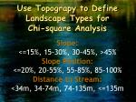 use topograpy to define landscape types for chi square analysis