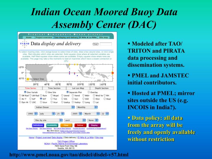 Indian Ocean Moored Buoy Data Assembly Center (DAC)