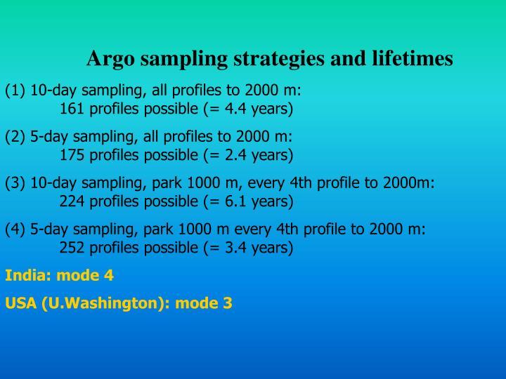 Argo sampling strategies and lifetimes