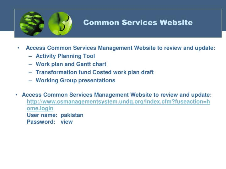 Common Services Website