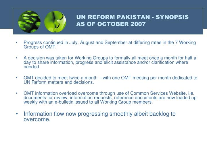 UN REFORM PAKISTAN - SYNOPSIS AS OF OCTOBER 2007