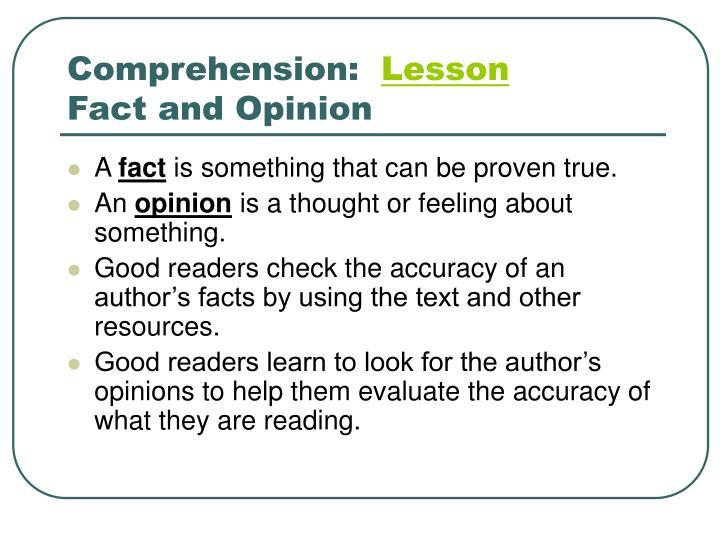 Comprehension: