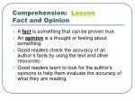 comprehension lesson fact and opinion