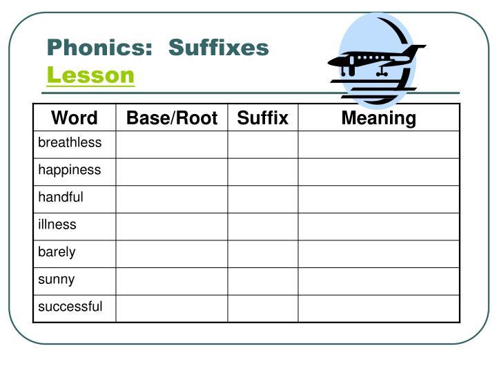 Phonics:  Suffixes