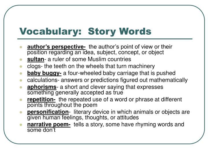 Vocabulary:  Story Words