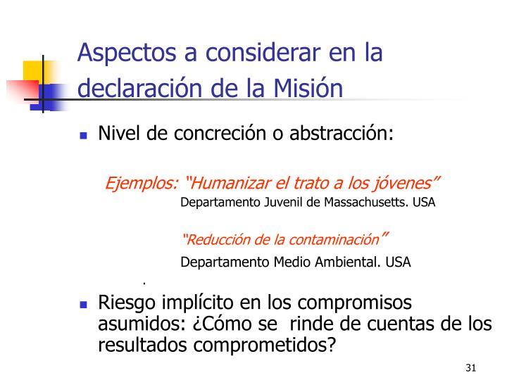 Aspectos a considerar en la declaración de la Misión
