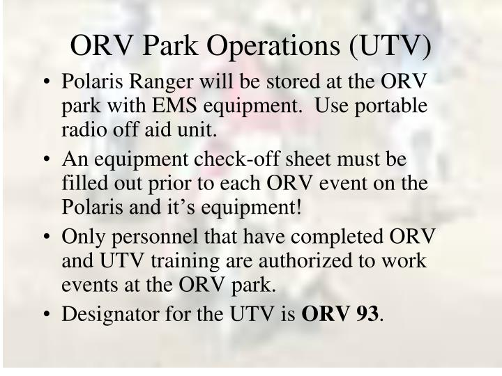 ORV Park Operations (UTV)