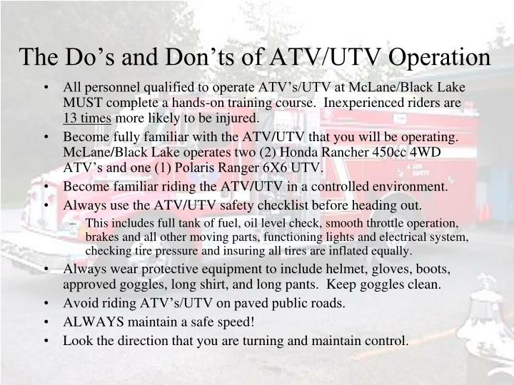 The Do's and Don'ts of ATV/UTV Operation