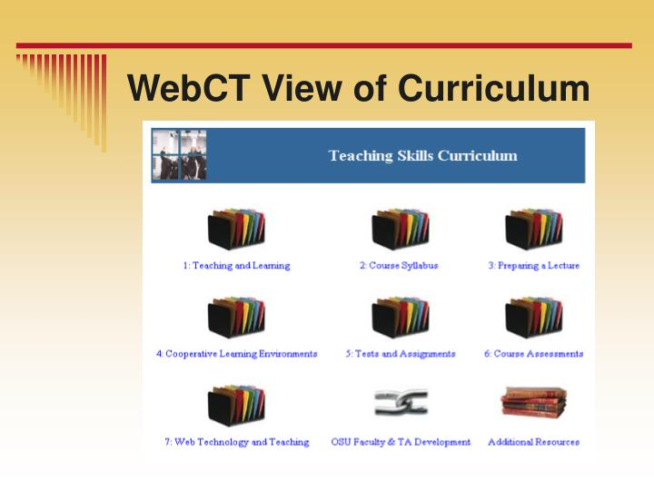 WebCT View of Curriculum