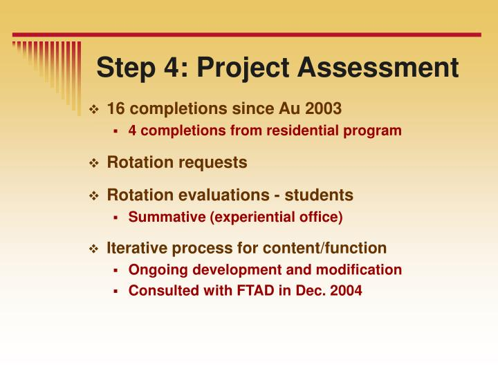 Step 4: Project Assessment