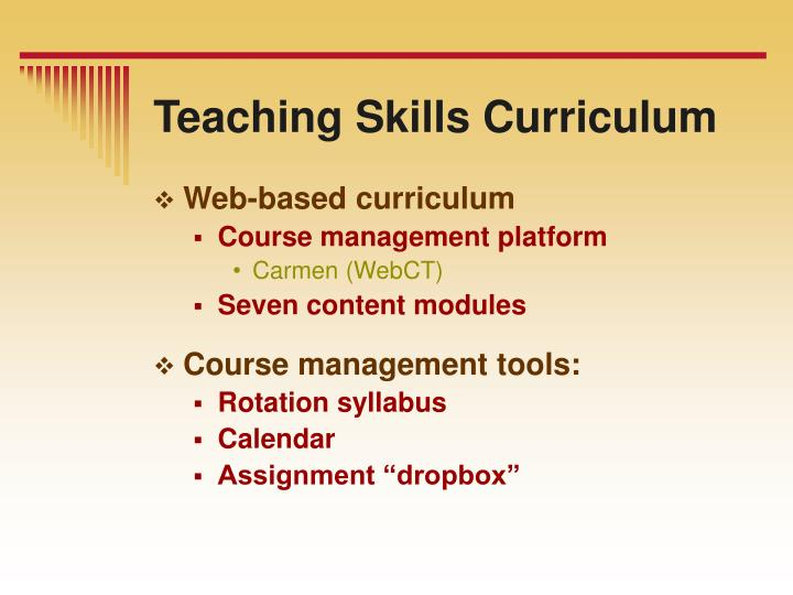 Teaching Skills Curriculum
