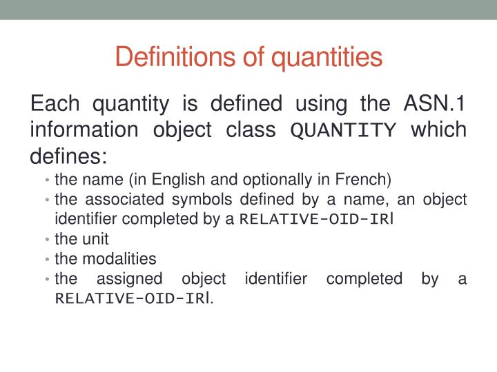 Definitions of quantities