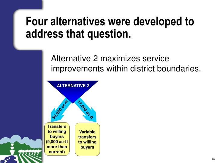 Four alternatives were developed to address that question.